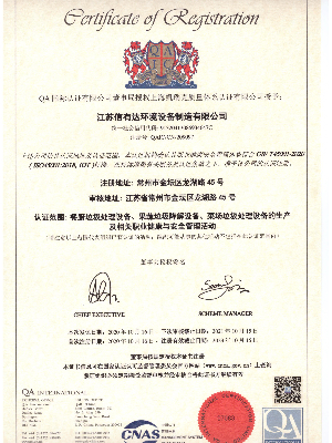 江苏信有达-职业健康安全管理体系认证证书
